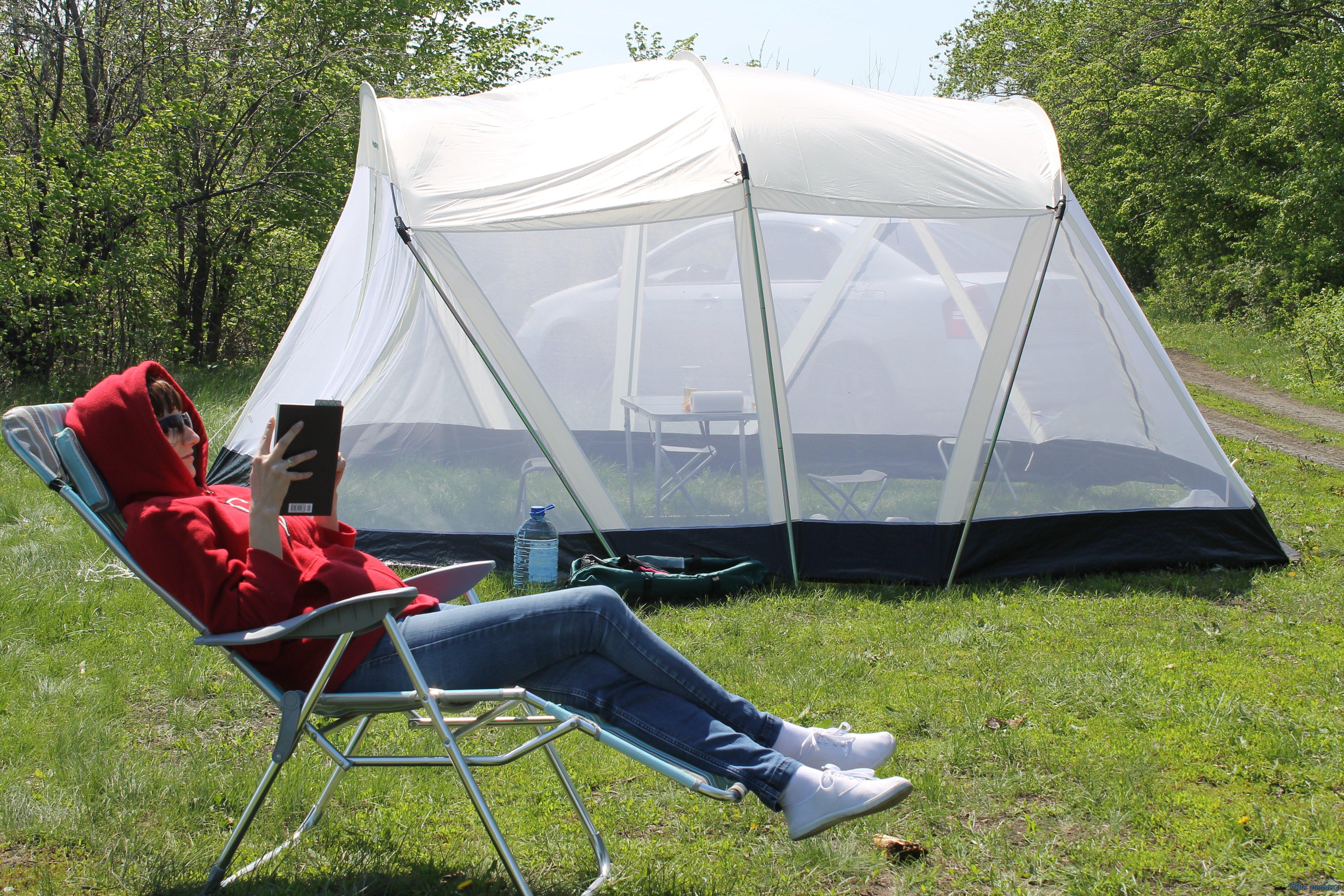оборудование палатки для отдыха и рыбалки